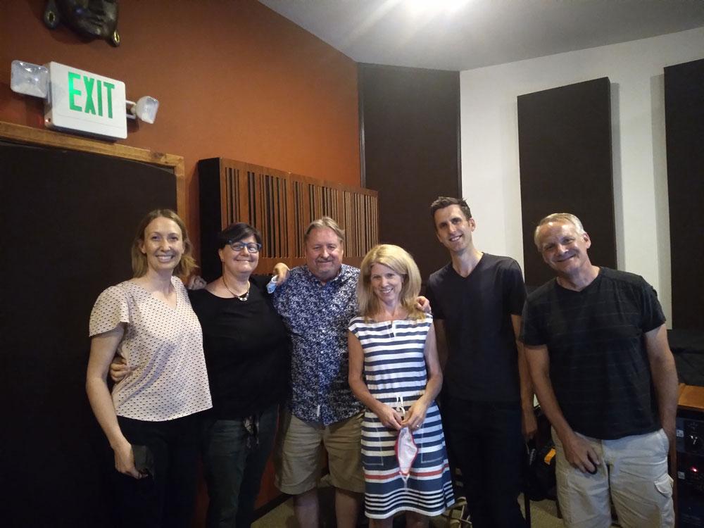 From left: Alison Bjorkedal, harp; Nadia Shpachenko, celeste; composer Jack Van Zandt; soprano Stacey Fraser; Alastair Edmonstone, piano; recording engineer Talley Sherwood.