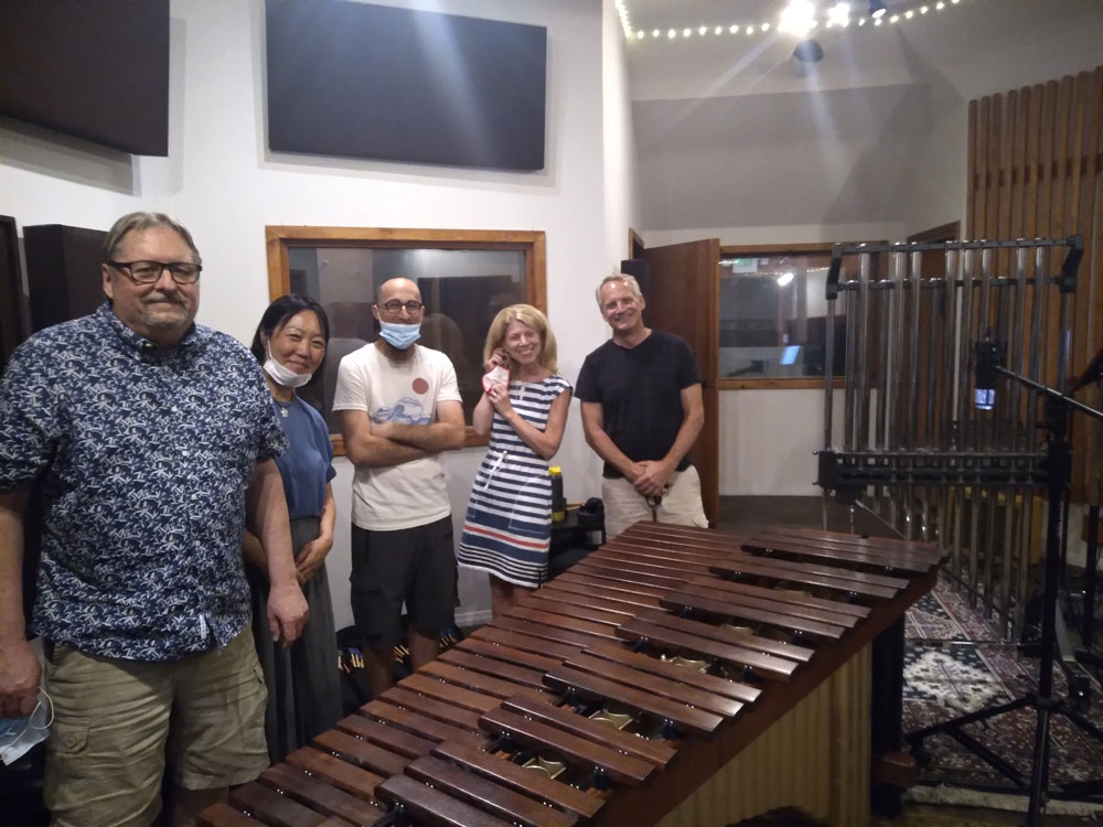 From left: Composer Jack Van Zandt; Yuri Inoo Miyoshi and Cory Hills, percussionists; soprano Stacey Fraser; recording engineer Talley Sherwood.