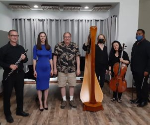 """""""El Oro de los Tigres"""" recording session for the Hear Now Festival, Woodland Hills, California, August 29, 2021. From left: Brian Walsh, clarinet ; Kirsten Wiest, soprano; composer Jack Van Zandt; Alison Bjorkedal, harp; Cecilia Tsan, cello; conductor Anthony Parnther."""